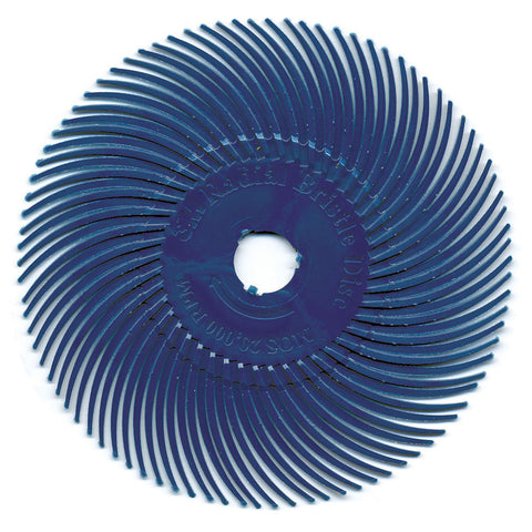 "Radial Bristle Disc, 3"" dia., Blue, 400 Grit, Pack of 6"