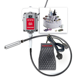 Jewelers Kit w/ 1/6 hp SR Motor, FCH-2 Plastic Foot Pedal Speed Control with North American Plug, H.30 Chuck Style Handpiece & More, 230v