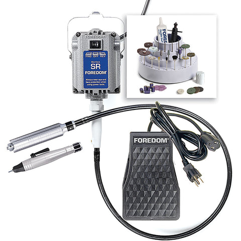 Foredom K.2800 Deluxe Jewelers Kit with 2 Handpieces and C.SCT Metal Foot Pedal Speed Control, 115v