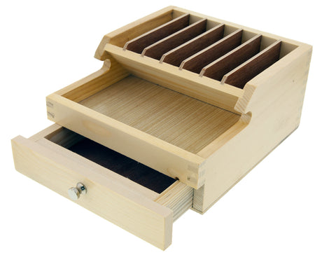 Tool Stand - Wooden, 10 Sections, 1 Drawer
