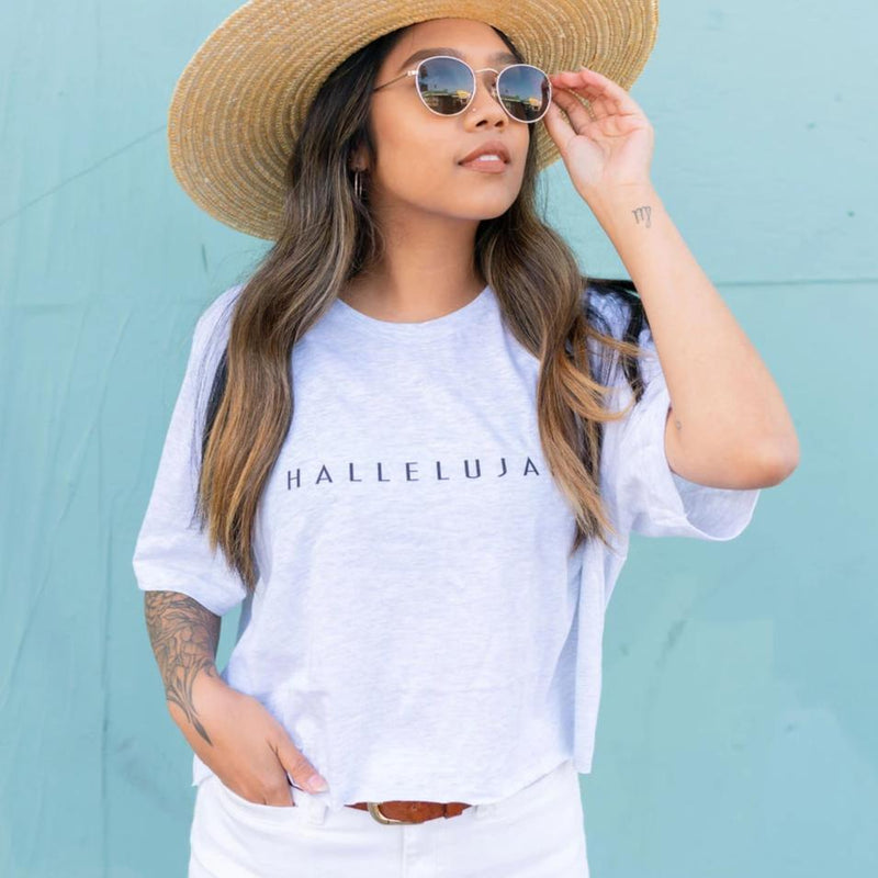 This fashionable Christian T Shirt adds a great design to true and noble's Christian clothing line. As a reminder to Hallelujah, praise God, Revelation 19:6-7 is printed on the back of each tee. Faith and fashion meet to make the Hallelujah T-Shirt the best Christian apparel.