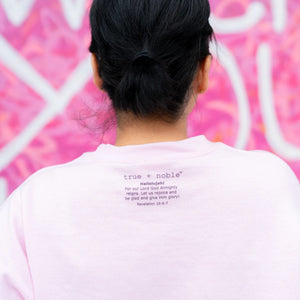 This fashionable Christian Sweatshirt adds a great design to true and noble's Christian clothing line. As a reminder to Hallelujah, praise God, Revelation 19:6-7 is printed on the back of each sweatshirt. Faith and fashion meet to make the Hallelujah Sweatshirt the best Christian apparel.