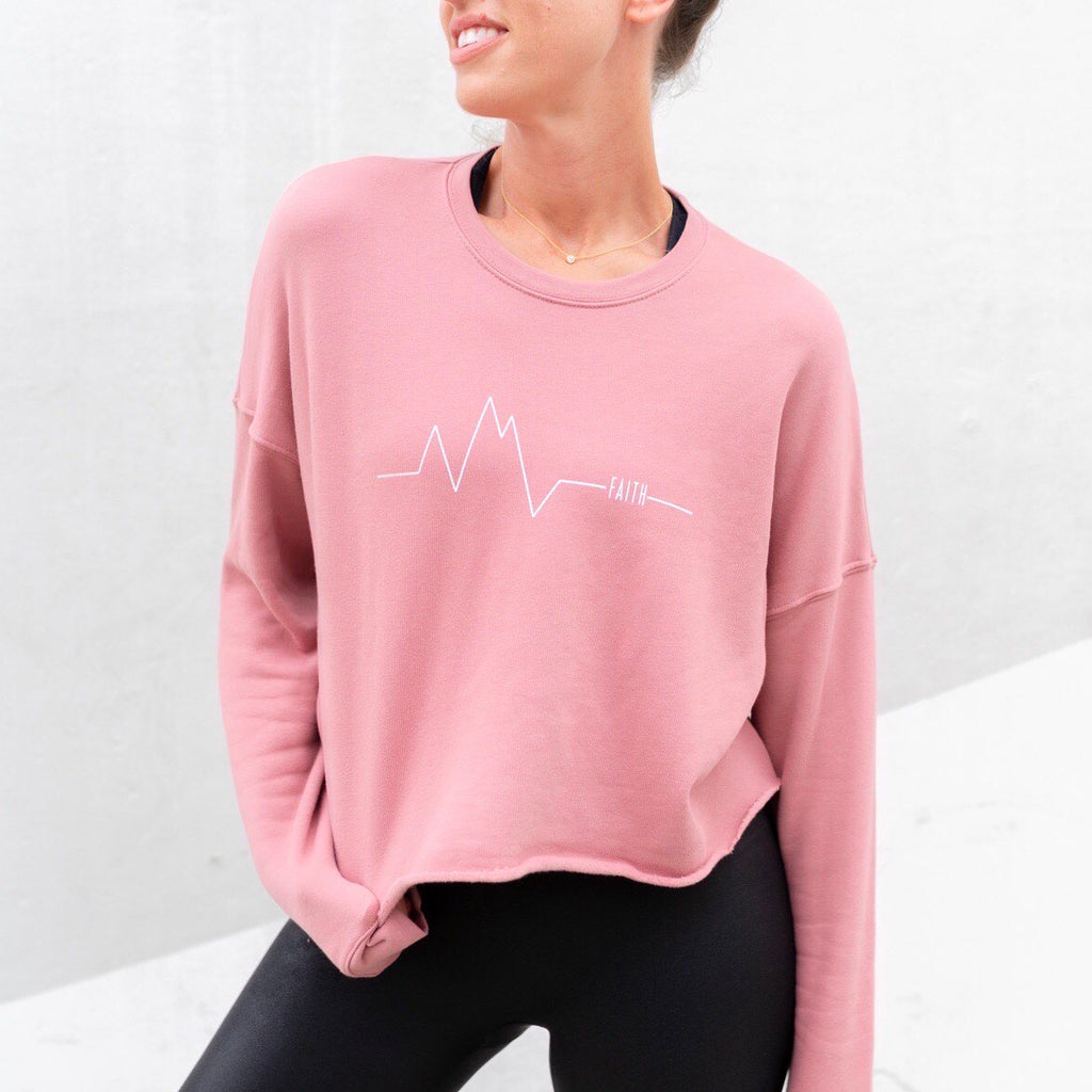 Faith Can Move Mountains Crop Sweatshirt