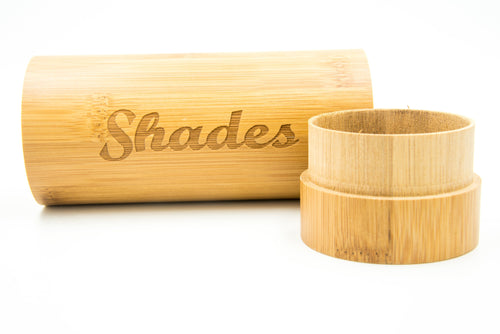 Shades on Point Sunglass Co Bamboo Logo Case