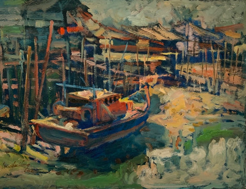 Art Exhibition in Singapore. ARTualize is the only art gallery in Singapore that represents Singapore artist Low Hai Hong.  Featuring the fishing village of Pulau Ketam in Malaysia, a small boat is moving in the river surrounded by wooded houses built on stilts.  It is sunset and the boat, house on stilts and river are showered in red and yellow.