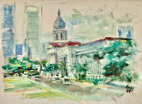Art exhibition in Singapore. ARTualize is the only art gallery in Singapore that represents Singapore artist Low Hai Hong. This is an oil on paper painting of the Padang in Singapore.