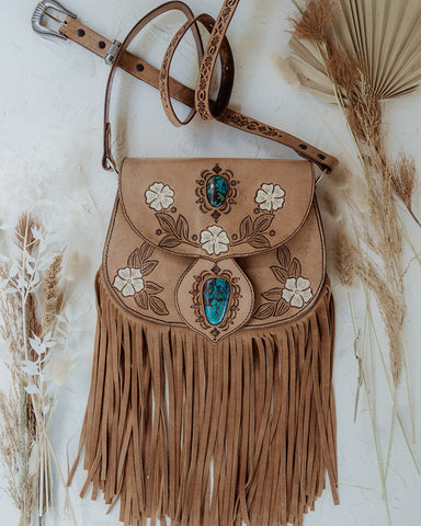 White Desert Flower Saddle Bag with Turquoise in Light Tan (2)