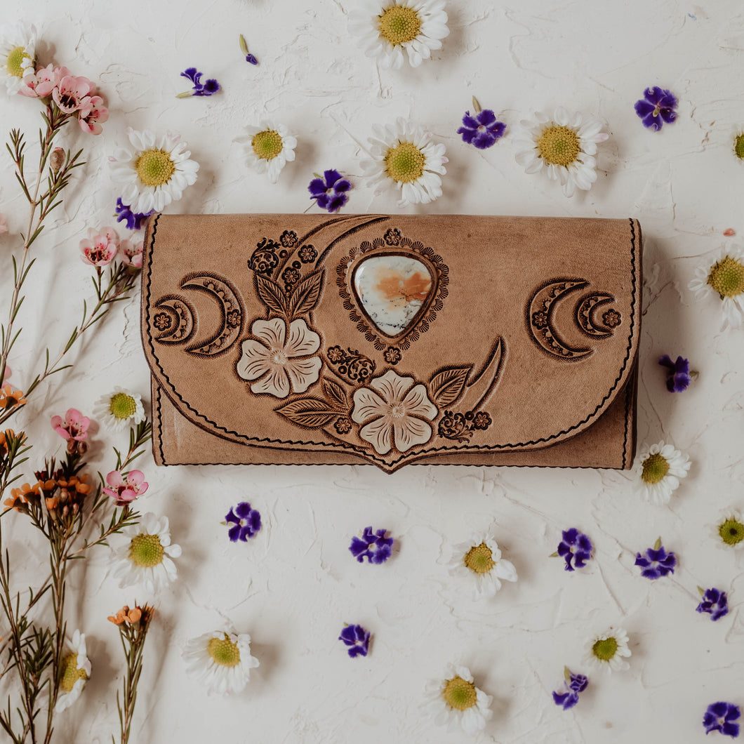 Wild Lunar Gypsy Leather Wallet *SPRING EDITION* painted with Maligano Jasper
