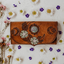 Load image into Gallery viewer, Wild Lunar Gypsy Leather Wallet *SPRING EDITION* painted with Ruby in Fushite