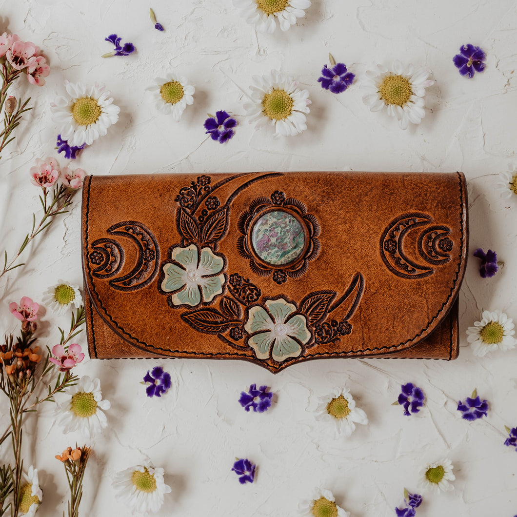 Wild Lunar Gypsy Leather Wallet *SPRING EDITION* painted with Ruby in Fushite