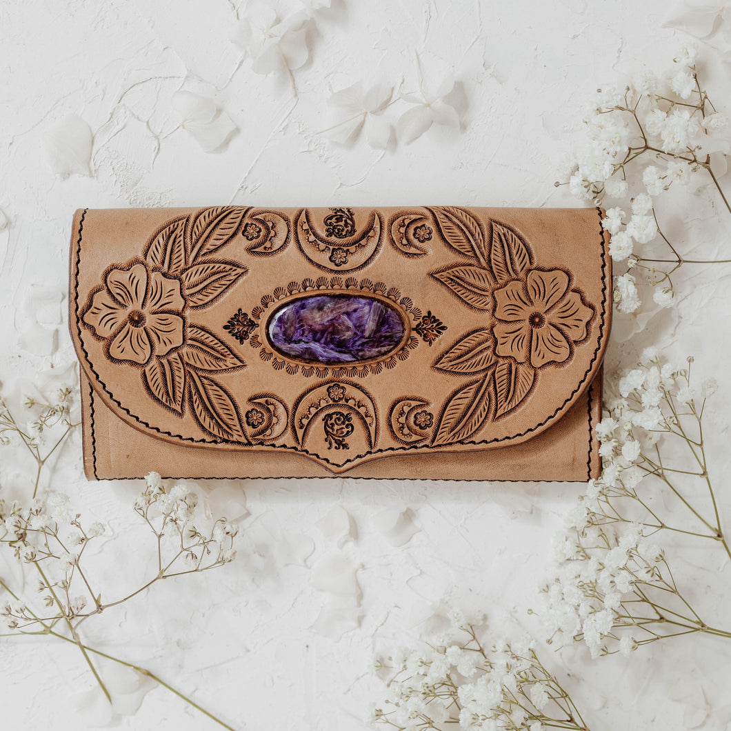 Luna Blossom Leather Wallet with Purple Charoite in Light Tan