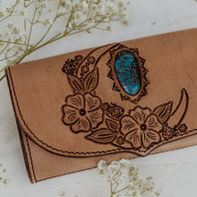 Load image into Gallery viewer, Wild Lunar Gypsy Leather Wallet With Turquoise in Light Tan
