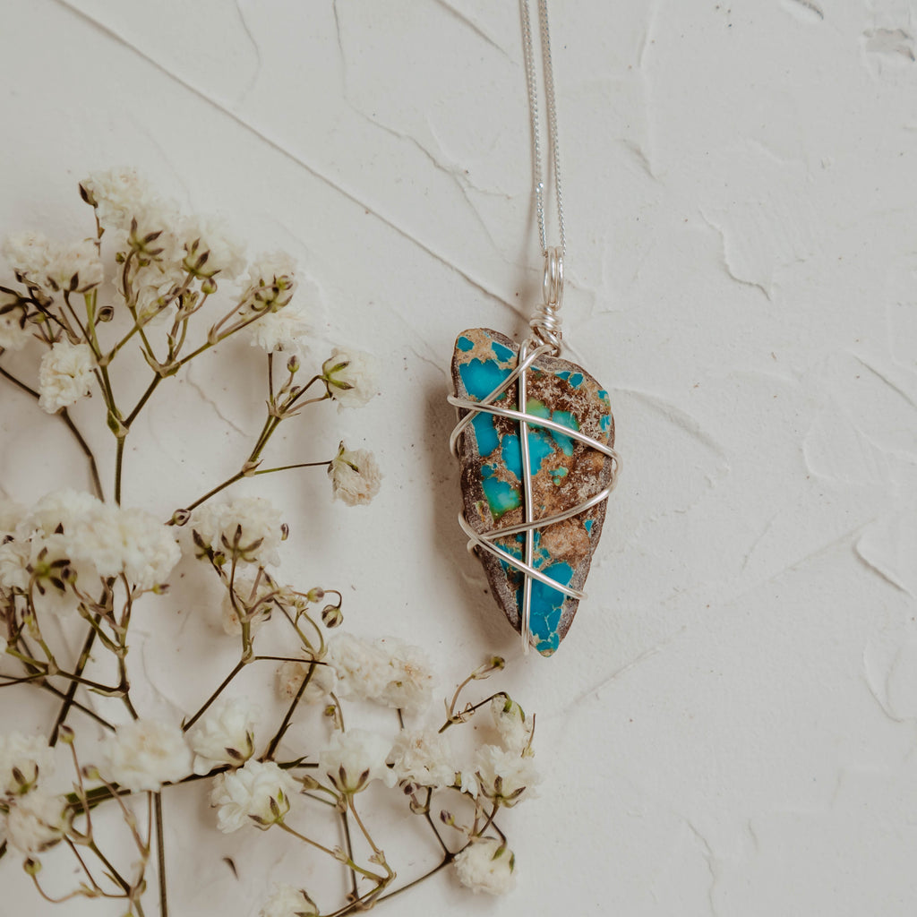 Turquoise Wrapped Necklace in Silver (16) - MEDIUM