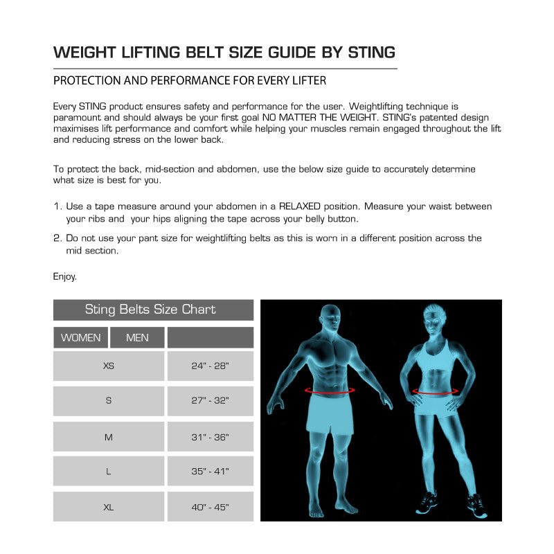 Weight Belt Size Chart