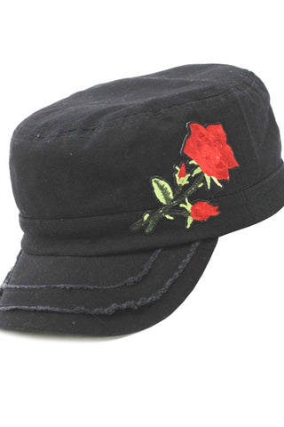 Denim Cadet Cap with Rose