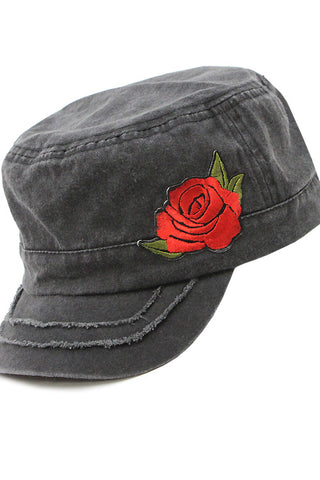 Distressed Denim Cadet Cap with Rose