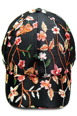 Floral Embroidery Baseball Cap