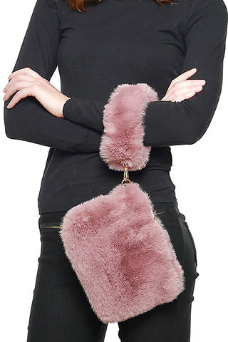 (3PCS) Faux Fur Hand Bag