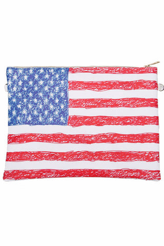 American Flag Clutch Bag