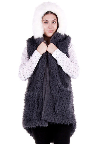 Faux Fur Vest With Hood