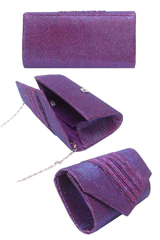 (3PCS) Diagonal Pleated Glitter Evening Clutch Bag