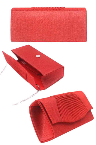 Pleated Glitter Evening Clutch Bag