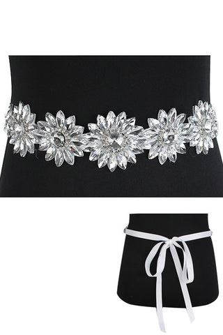 Crystal Glass Flower Ribbon Belt