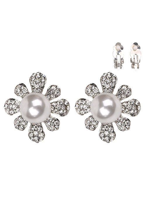 Floral Pearl Clip on Earring