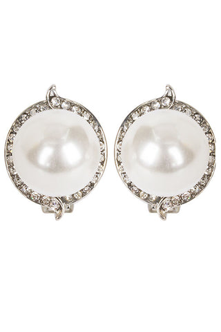 Pearl Stone Clip Earrings