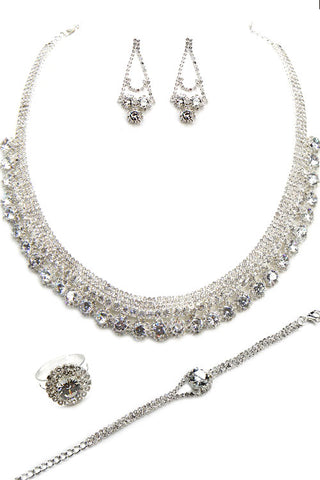 Cubic Rhinestone Necklace Set