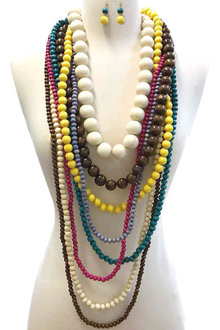 Color Wood Necklace Set