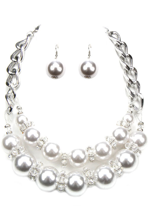Chain Pearl Necklace Set