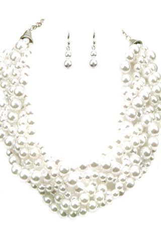 Coiled Pearl Necklace Set