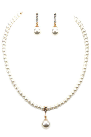 Pearl Small Charm Necklace Set
