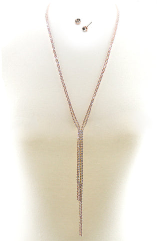 (2PCS) Rhinestone Lariat Necklace Set