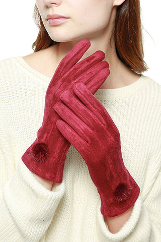 (9PCS) Suede Feel Pompom Touchscreen Gloves