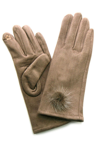 Suede Feel Pompom Touchscreen Gloves