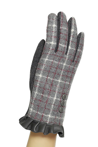 Plaid Pleated Detail Gloves