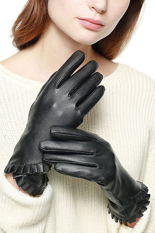 Ruffle Accent Faux Leather Gloves