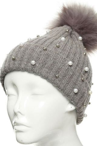 PEARL STUDDED BEANIE HAT