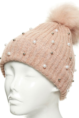 (12PCS) PEARL STUDDED BEANIE HAT