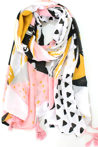 Pastel Color-blocked Patterns Scarf Shawl