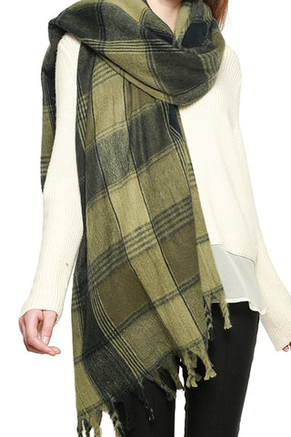 CHECK PLAID FRINGED SCARF
