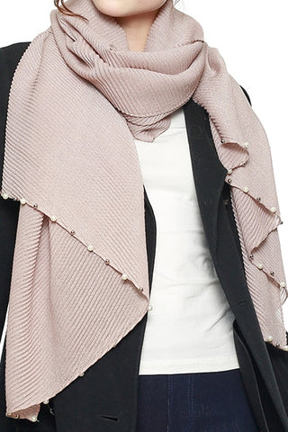 Pearl Embellished Edge Pleated Scarf