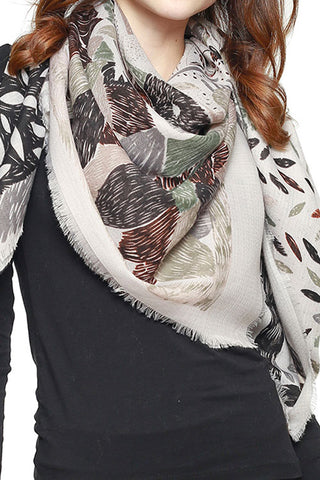 MIXED NATURE PRINT SQUARE SCARF