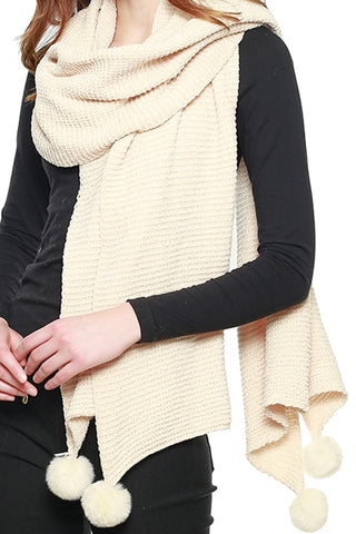 PLEATED CHENILLE POM POM SCARF