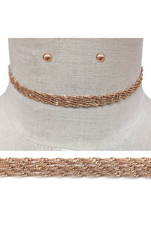 Chain Choker Necklace Set