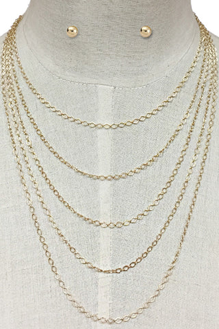 Chain Layered Necklace Set