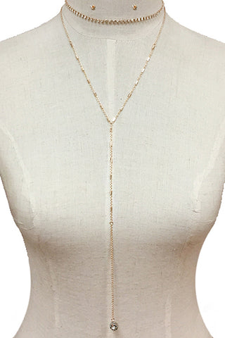 Chain Layered Lariat Necklace