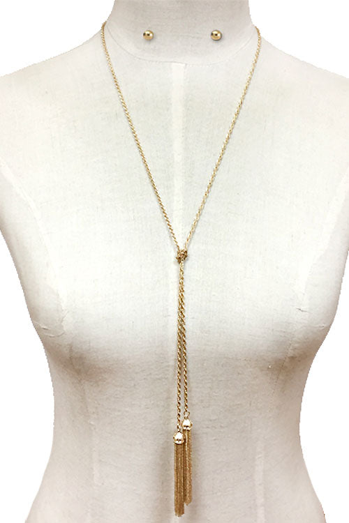 Chain Lariat Tassel Necklace Set